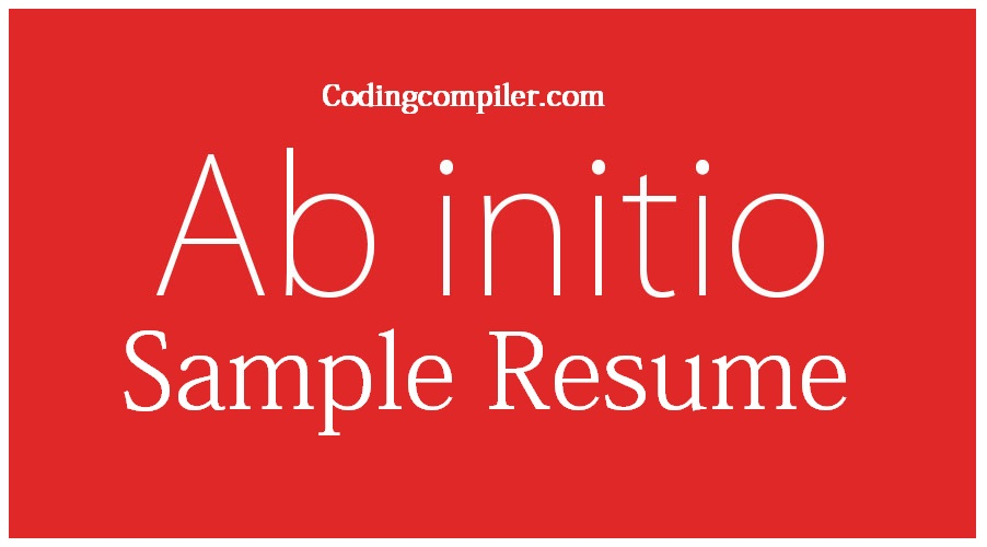 Ab Initio Sample Resume