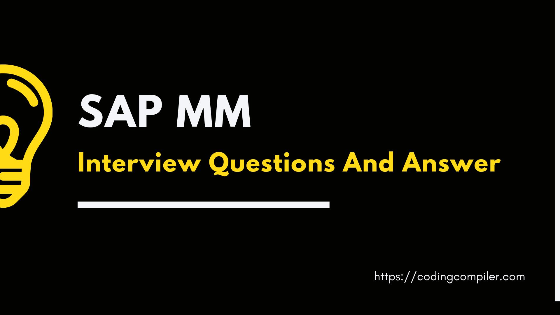 SAP MM Interview Questions