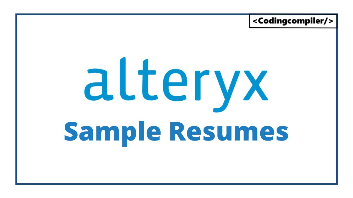 Alteryx Sample Resumes